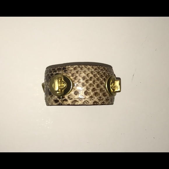 Coach Accessories - Coach Leather Snakeskin Turnlock Bangle Bracelet